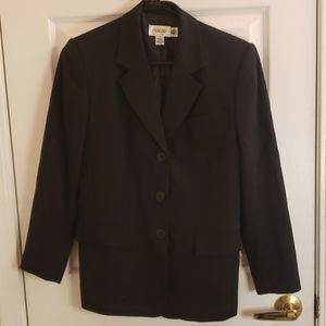 Talbots Black Blazer 100% Wool Size 2